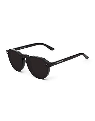 HAWKERS Hybrid Gafas de Sol Warwick, para Hombre y Mujer, un clásico renovado Que combina Montura Brillo y Lente Negra, Protección UV400, OSCURO, One Size Unisex-Adult