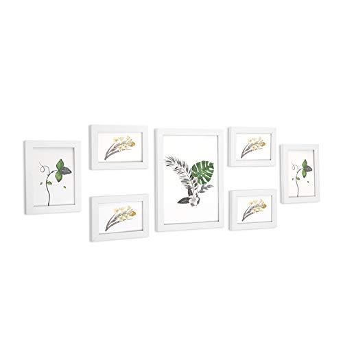SONGMICS Set de 7 Marcos de Fotos con Vidrio, Portafotos de Madera, Uno 21 x 29,7 cm, Dos 13 x 18 cm, Cuatro 13 x 15 cm, Blanco RPF31WT