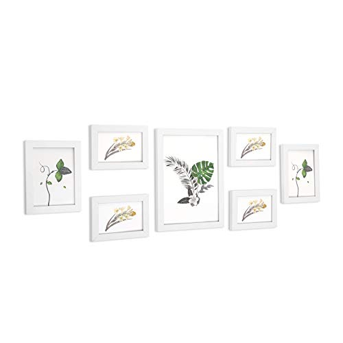 SONGMICS Set de 7 Marcos de Fotos con Vidrio, Portafotos de Madera, Uno 21 x 29,7 cm, Dos 13 x 18...
