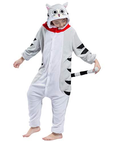 Kigurumi Pijama Animal Entero Unisex para Niños con Capucha Cosplay Pyjamas Gato Atigrado Ropa de Dormir Traje de Disfraz para Festival de Carnaval Halloween Navidad