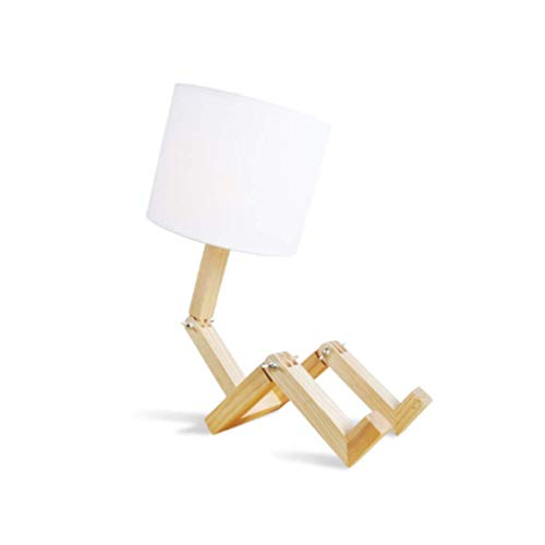 Práctico Y Simple Lámpara de Mesa Lámpara de Escritorio Luz E27 * 1 Redonda Lámpara de Mesa Práctica Y Simple Lámpara de Madera Maciza Altura 40Cm Diámetro de la Pantalla 20Cm Base 12Cm Lámpara de Li