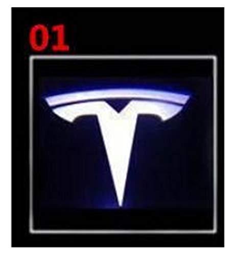 Autotür Willkommen Licht 2 PC-kühle LED Tür-Willkommens-Laser-Licht kompatibel mit Tesla Modell 3 Modelle S Modell X-Projektor Logo-Geist-Schatten-Licht kompatibel mit Tesla Sensorleuchten