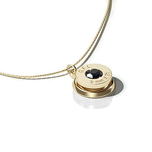 9mm Jewelry Collar con colgante con acabado en oro de 24 quilates, piedra preciosa negra y cadena de plata