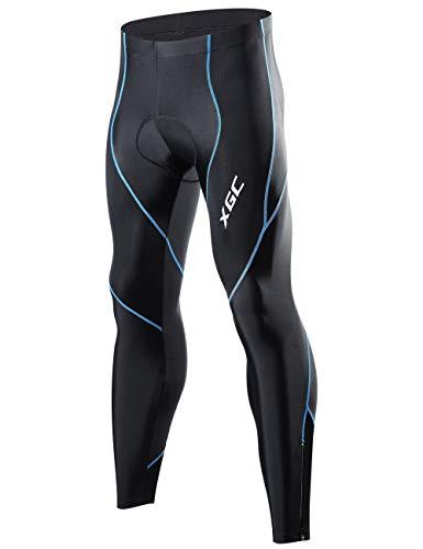 XGC Herren Lange Radlerhose Fahrradhose Radhose Radsportshorts für Männer Elastische Atmungsaktive 4D Schwamm Sitzpolster mit Einer Hohen Dichte (Blue, M)
