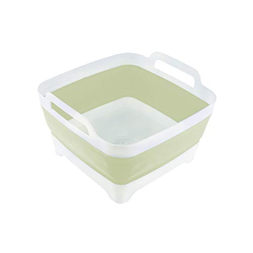 THANSTAR Dish Basin Collapsible with Drain Plug Portable Wash Basin Foldable Sink Tub Carry Handle Dishpan Space Saving Kitchen Storage Tray for Camping, RV, Vegetable, Washing 9L Capacity, Green