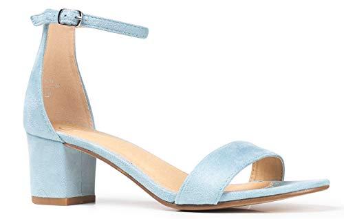 J. Adams Daisy Kitten Heel - Classic Single Band Ankle Strap Low Block Heel Light Blue