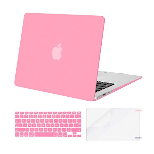 MOSISO Compatible with MacBook Air 13 inch Case (Models: A1369 & A1466, Older Version 2010-2017 Release), Protective Plastic Hard Shell Case & Keyboard Cover & Screen Protector, Pink