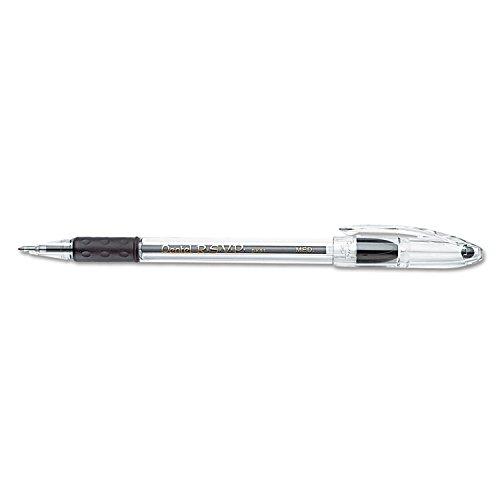 Pentel BK91A R.S.V.P. Stick Ballpoint Pen, 1mm, Trans Black Barrel, Black Ink, Dozen