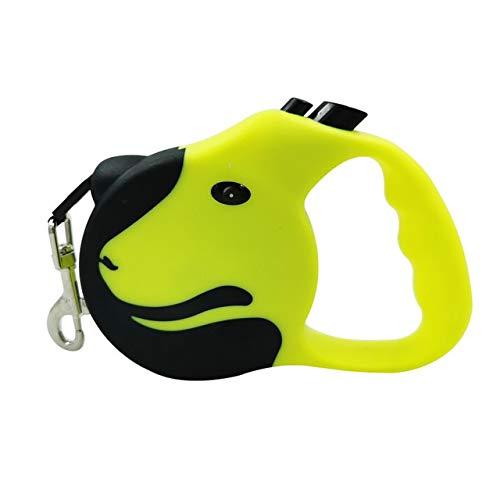 Correa retráctil para Perros de 3 / 5M Correa Flexible automática para Perros Correas de Cuerda de tracción para Gatos para Perros pequeños y medianos Productos para Mascotas - Amarillo, 5M,
