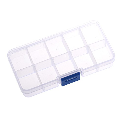 ALL in ONE 6pcs Clear Plastic Storage Box Bead Organizer Display Containers with Adjustable Dividers (13x2.6x2cm 10 Grids)