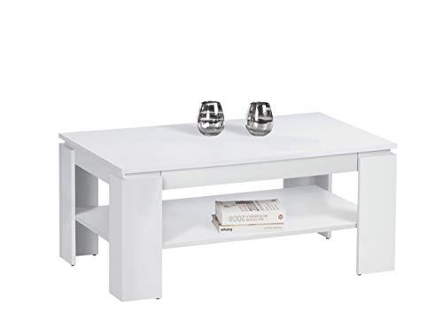 Stella Trading Harrison salontafel, woonkamertafel, hout, wit, 100 x 60 x 44 cm
