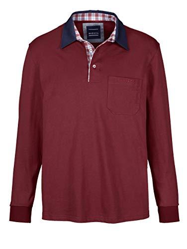 BABISTA Herren Polo-Shirt – Langarm-Shirt aus Reiner Baumwolle, Leichter Pullover mit kariertem Webbesatz im Kragen, Polo-Hemd in Bordeaux, Gr. 52, Rot, Gr. 48