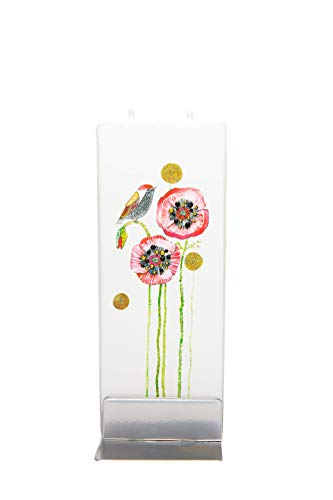 Flatyz Candele Decorative Particolari - Candele Regalo Donna Piatta Fatta a Mano Inodore - Candele Colorate - Uccello sui Papaveri