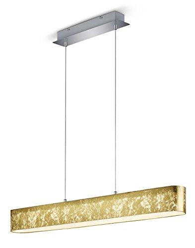 Trio Leuchten 320910179 Lugano A, LED Pendelleuchte, Nickel, 18 W, Integriert, Folienschirm goldfarbig, mit Switch-Dimmer, 8.5 x 100 x 150 cm