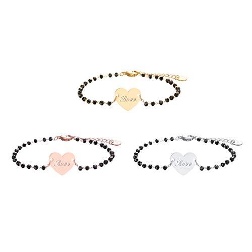 JinHan 3 Piezas de Pulsera de corazón de Amor para Mujeres y niñas, Cadena de Perlas Negra Ajustable a la Moda, Adecuada para Regalo de cumpleaños de Amigos, Plateado/Dorado/Chapado en Oro Rosa
