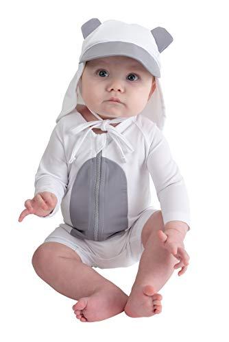 Cuddle Club Traje de Baño de una Sola Pieza Anti UV 50+ Bañador Bebé con Protección Solar – SunziesBearWhiteGrey0-3m