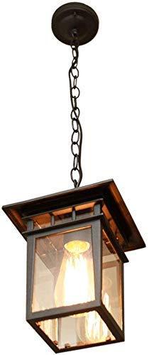 Woondecoratie Lampen Hanglamp Buiten Vintage Retro E27 Zwart Aluminium Hanglamp Glaskap Waterdicht IP23 Hoogte Verstelbare Hanglampen Tuinhuisje Villa Druivenrek, 18.5 * 23CM