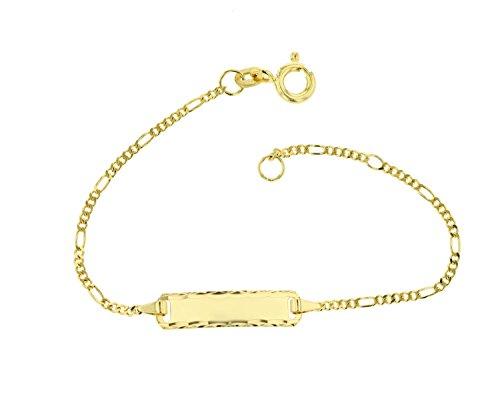 JC Trauringe 585 Gold Baby ID-Armband Kinder Goldarmband 14 cm I Figaro Armband mit Gravur Taufarmband Gold Namensarmband I Babyarmband mit Namen I Kinderschmuck made in Germany I 5.53043