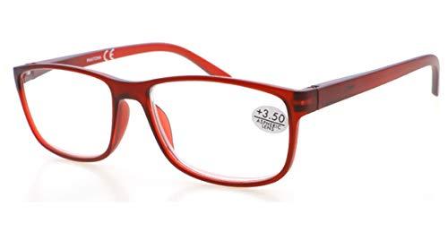 Gafas de lectura PANTONA con cristales antireflejantes y filtro anti luz azul para ordenadores, tacto de goma, vista Cansada. Presbicia. (Rojo, 2.00)