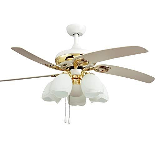 Ventilador de techo europeo chapado en oro Fan Luz 6 Cristal Abat Conmutador para cable candelabro blanco decorativo en The Living Room, 52 pulgadas de lustre Fan (color blanco, tamaño: 52 in)