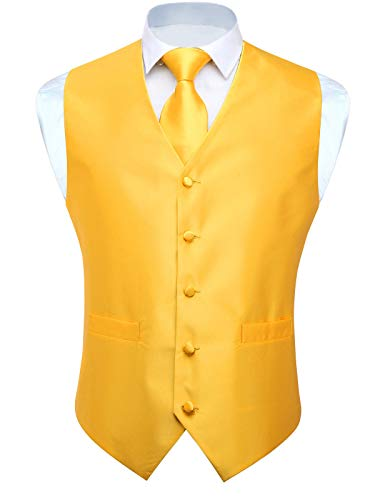 HISDERN 3pc Men's Solid Color Woven Dress Waistcoat & Necktie and Pocket Square Vest Suit Tuxedo Set Wedding Party Yellow