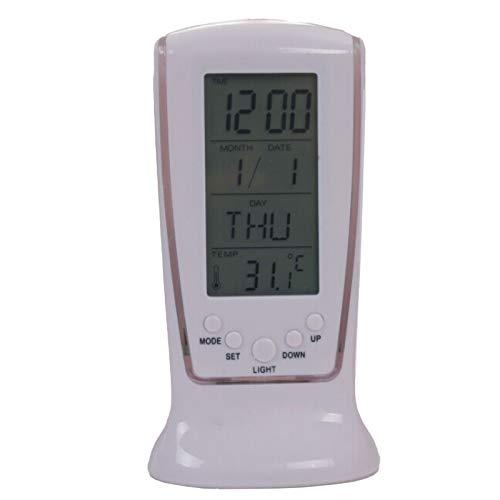 Leyeet Reloj despertador digital con pantalla LED, calendario de termómetro de repetición, reloj digital con fecha y día de la semana, pantalla grande con batería (batería no incluida)