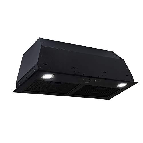 Klarstein Paolo 72 campana extractora - clase A, 72,5 cm de ancho, extracción de 600m³/h, 200 W, filtro de grasa de aluminio, iluminación LED, control táctil, acero inoxidable, ventilación, negro