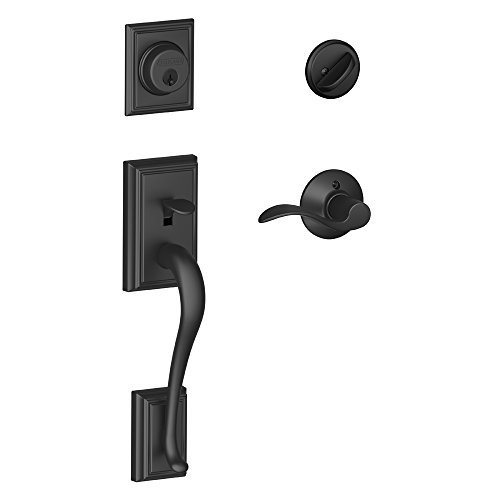 Addison Single Cylinder Handleset and Right Hand Accent Lever, Matte Black (F60 ADD 622 Acc RH)