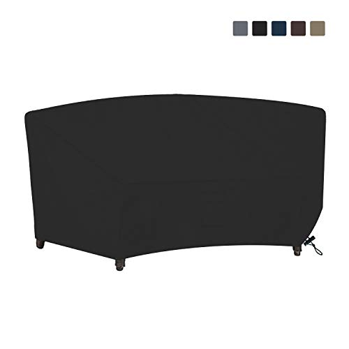 Curved Sofa Cover 12 Oz Waterproof - 100% UV & Weather Resistant Customize Outdoor Sofa Cover with Air Pockets and Drawstring with Snug Fit (90W x 34 D x 32 H x 46 FL, Black)