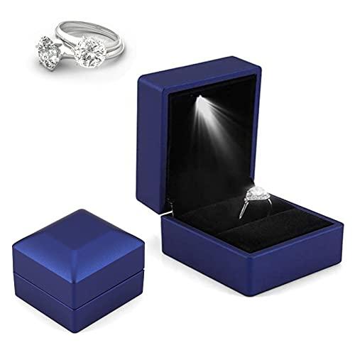 Caja De Regalo Led para Anillo, Estuche De Anillo Led para Anillos De Joyería con Iluminación, Contenedor De Almacenamiento De Anillo para Propuesta De Boda del Día De San Valentín (Azul)