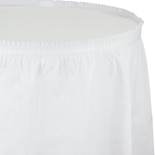 Creative Converting Plastic Table Skirt, 21.5-Feet, White
