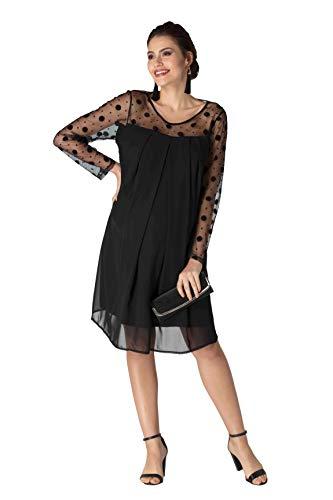 M.M.C. Lady Umstands-Kleid mit gepunktetem Netzstoff - Schwangerschaftskleid Schwangerschaft Abendkleid Cocktailkleid Partykleid für Hochzeit Standesamt - Knielang (Schwarz, 42)