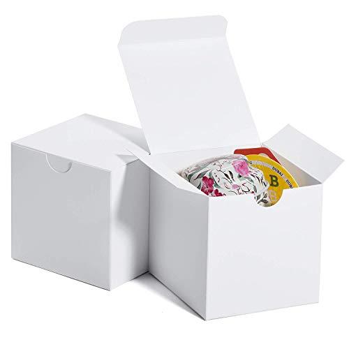 HOUSE DAY Scatole regalo 7.6x7.6x7.6cm, scatole di carta bianche con coperchi per regali, creazione, scatole per imballaggio cupcake (50 pezzi) (bianco)