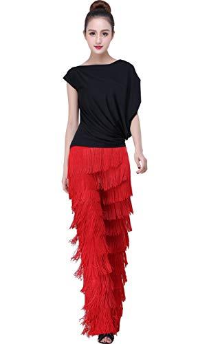 JS CHOW Black Tassels Ballroom Latin Tango Salsa Dance Pants (Red, XL)