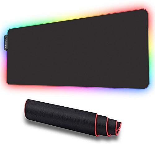 VICSING RGB Gaming Mouse Pad, LED Soft Extra Extended Large Mouse Pad, Anti-Slip Rubber Base, Computer Keyboard Mouse Mat - 31.5 X 12 Inch (Black)