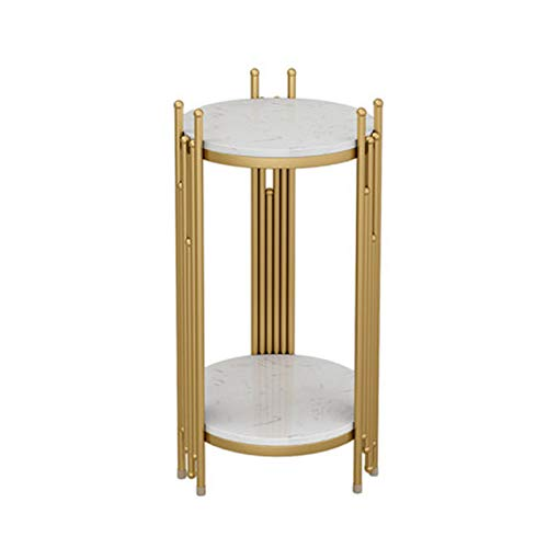 Soporte de flores de mármol sofá mesa lateral de almacenamiento de luz de lujo creativa pequeña mesa de centro mesa de esquina simple hogar mesa redonda pequeña flor stand -Localgold 58cm