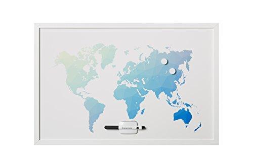 Bi-Office, Bacheca Poligono Mappa Del Mondo, Magnetica Cancellabile a Secco, Cornice Bianca MDF, 90x60cm