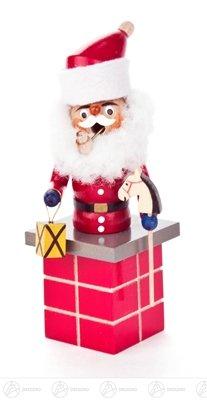Räuchermann Mini-Räuchermann Weihnachtsmann auf Schornstein Breite x Höhe x Tiefe 6 cmx14 cmx6 cm NEU Erzgebirge Rauchmann Räucherfigur