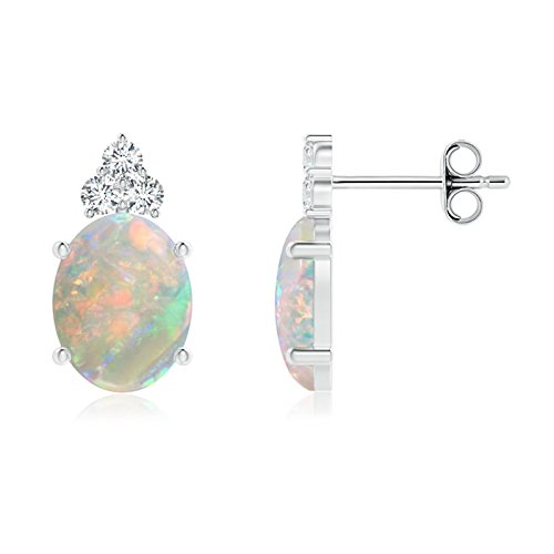 October Birthstone - Classic Oval Opal Solitaire Stud Earrings with Trio Diamonds in Silver (9x7mm Opal)