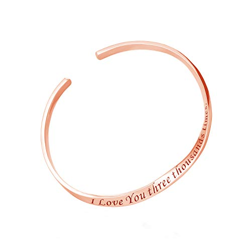 Sterling Silver Personalized Cuff Bangle Bracelet Engraved Inspirational Mobius Band Custom Names Mantra Message Love Words Jewelry (Rose Gold)