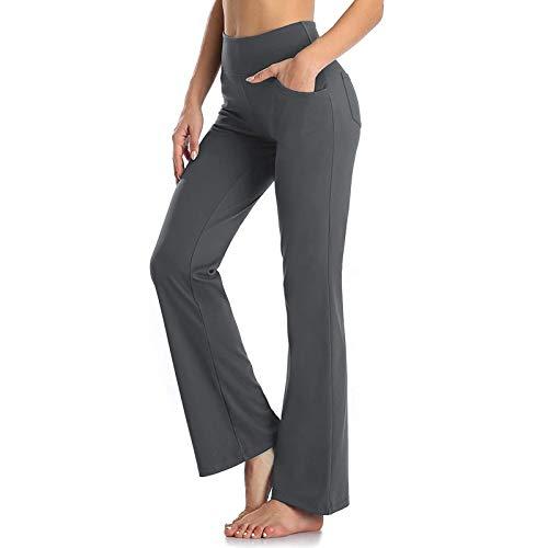 Kobay Pantalones de cintura alta para mujer, con bolsillo, fitness, yoga, pantalones de pierna ancha