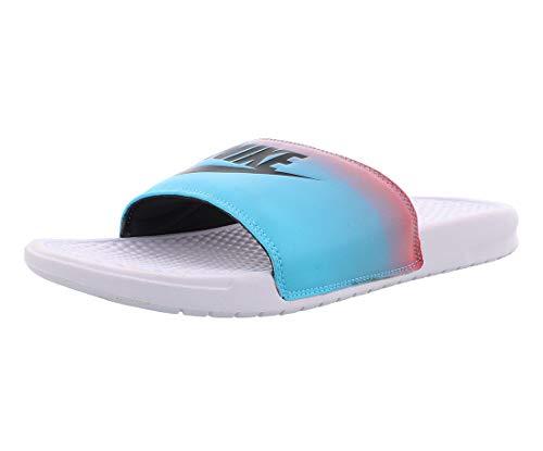 Nike Men's Benassi Just Do It Athletic Sandal - White/Black Ember Glow
