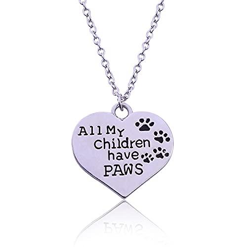 Collar Con Colgante De Corazón Patas De Perros Y Gatos Impresas Con Letras Todos Mis Hijos Tienen Patas Huellas De Animales Joyas Chapadas En Oro