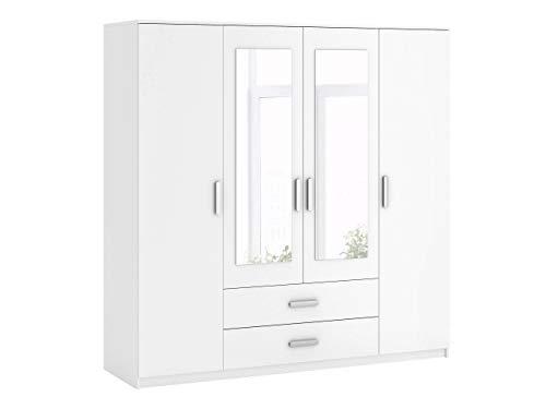 Mirjan24 Kleiderschrank Saravena, Drehtürenschrank mit Spiegel und Schubladen, Schlafzimmerschrank, Dielenschrank, Schrank, Garderobenschrank, Flurschrank (Weiß/Weiß + Spiegel, Modell: 4D2S)