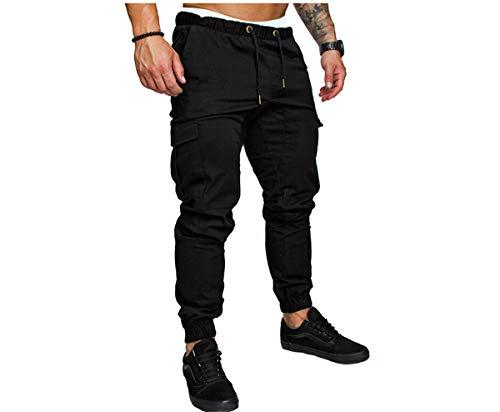 Vanornia Pantalon de Jogging Slim pour Homme avec Stylet, Poches Latérales et Cordon de Serrage(Noir XL)