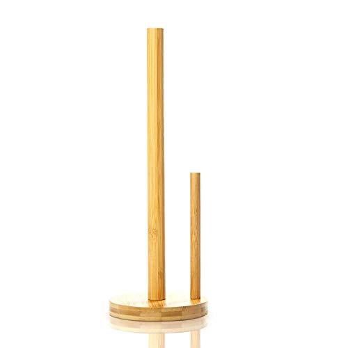 bambuswald© Küchenrollen-Halter aus 100% Bambus | Papierrollenhalter mit Führung - praktischer Papierhalter, Küchenrollenspender, Rollenhalter, Küchenrolle