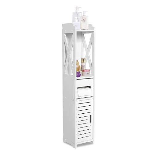 Badezimmerschrank, weiß, feuchtigkeitsbeständig, Aufbewahrung, Organizer, Schrank, Standregal, Bücherregal mit Papierschicht für Badezimmer, Schlafzimmer, Wohnzimmer, Küche, Flur, 80 x 15,5 x 15 cm