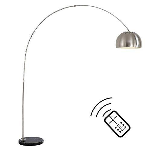 ZMLG LED Bogenlampe Dimmbar mit Fernbedienung Kreativ Bogen Stehlampe E27, Rostfreier Stahl Innenlampe mit Verstellbare Höhe, Modern Standlampen für Wohnzimmer Schlafzimmer Lesezimmer, 5W