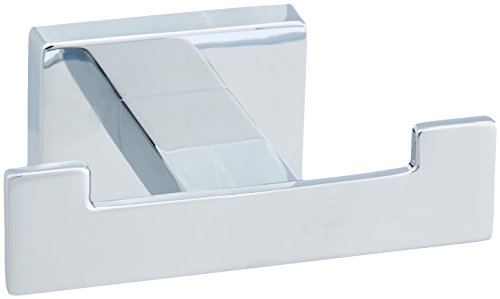 AmazonBasics Euro Glass Floating Vanity Bathroom Wall Shelf, Polished Chrome, 20 Inch