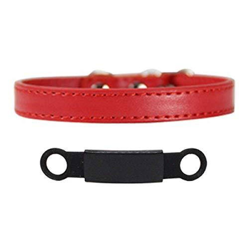 Collar de Perro con Grabado de identificación Personalizado Seguridad Breakaway Perro pequeño Lindo PU Ajustable para Cachorros Collar de Gatitos-Black_Red_XS